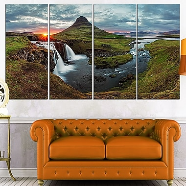 Iceland Landscape Spring Panorama Metal Wall Art, 48x28, 4 Panels, (MT7026-271)