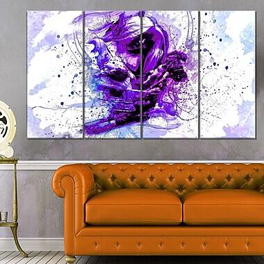Art mural en métal sensuel, étreinte abstraite violette, 48 x 28 po, 4 panneaux (MT2923-271)