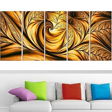 Art mural abstrait en métal, rêve doré, 60 x 28 po, 5 panneaux (MT3026-401)