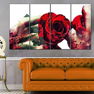 Lips and Roses Sensual Metal Wall Art, 48x28, 4 Panels, (MT2907-271)