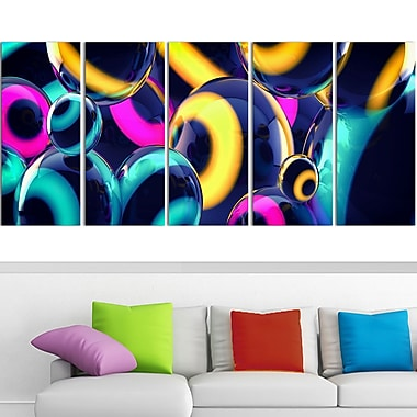 Art mural en métal, sphères intuitives, 60 x 28 po, 5 panneaux, (MT3094-401)