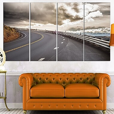 Sky Road Curve Landscape Photo Metal Wall Art, 48x28, 4 Panels, (MT7058-271)