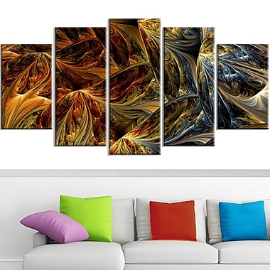 Red VS Blue Abstract Metal Wall Art, 60x32, 5 Panels, (MT3022-373)