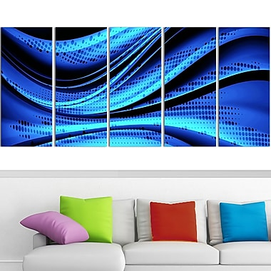Blue and Black Transition Metal Wall Art, 60x28, 5 Panels, (MT3056-401)