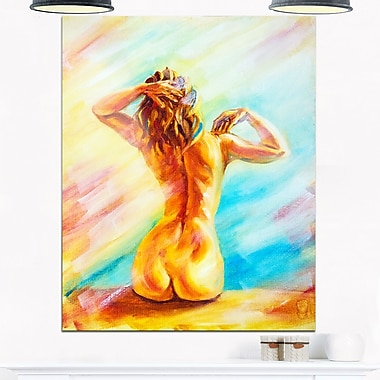 Naked Woman Sitting Sensual, art mural en métal, 12 x 28 (MT6322-12-28)