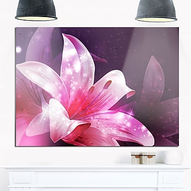 Shining Pink Fractal Flower Floral Metal Wall Art, 28x12, (MT8123-28-12)
