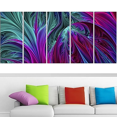 Purple and Green Jungle Metal Wall Art, 60x28, 5 Panels, (MT3085-401)