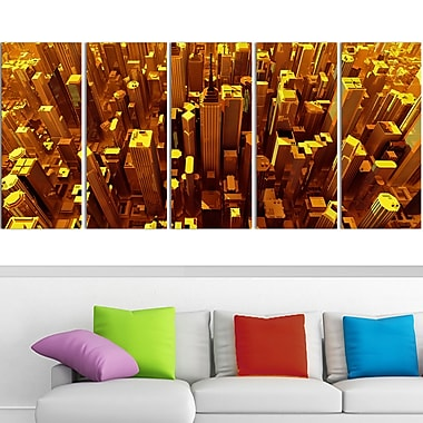 Golden City from the Sky Metal Wall Art, 60x28, 5 Panels, (MT3077-401)