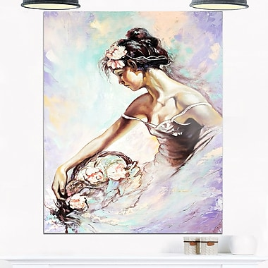Girl with Flower Bouquet Floral Metal Wall Art, 12x28, (MT6273-12-28)