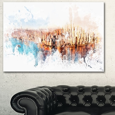 Sunrise on the River Cityscape Large Metal Wall Art, 28x12, (MT3303-28-12)