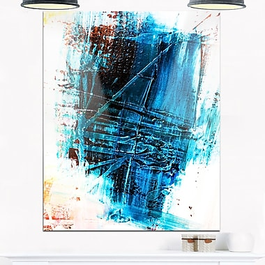 Art mural abstrait en métal, structure bleue abstraite, 12 x 28 po (MT6129-12-28)