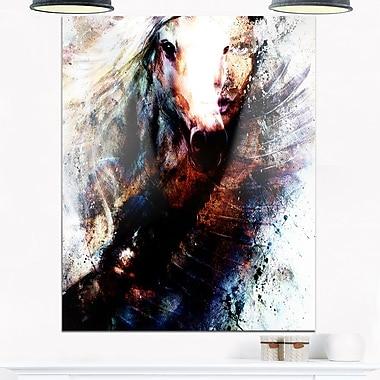 Art mural en métal, femme et cheval avec aigle volant, collage, 12 x 28 (MT6541-12-28)