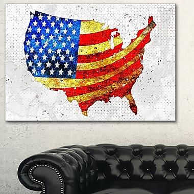 USA Flag on the Map' Metal Wall Art, 28x12, (MT2834-28-12)