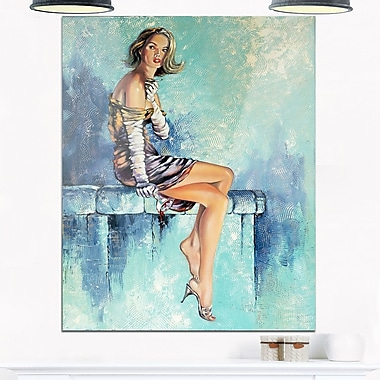 Girl with Glass Portrait Metal Wall Art, 12x28, (MT6332-12-28)