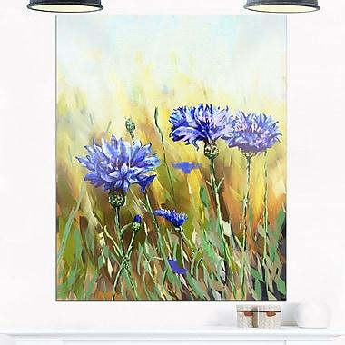 Art mural en métal de fleurs, bleuets en pleine floraison, 12 x 28 po (MT6221-12-28)