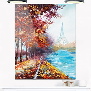 Eiffel Tower View in Fall Landscape Metal Wall Art, 12x28, (MT6103-12-28)