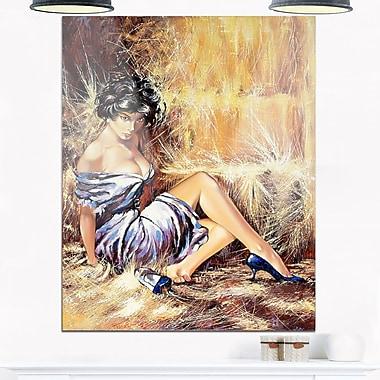 Art mural en métal, portrait d'une fille posant sur le sol, 12 x 28 po (MT6311-12-28)