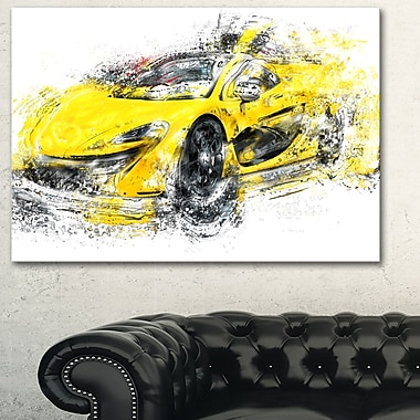 Yellow Exotic Car Metal Wall Art, 28x12, (MT2631-28-12)