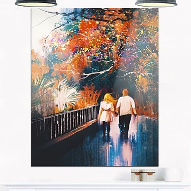 Couple Walking Holding Hands Landscape Metal Wall Art, 12x28, (MT6198-12-28)