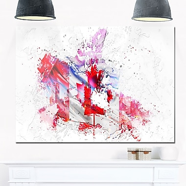 Canadian City and Flag on the Map Metal Wall Art, 28x12, (MT2746-28-12)