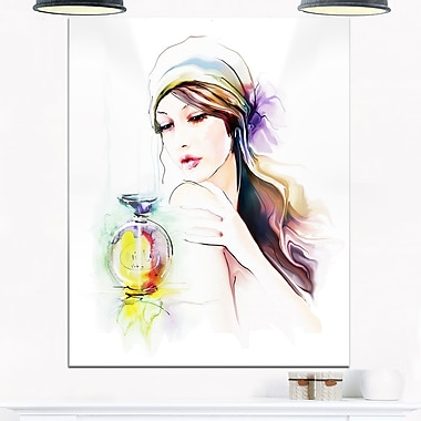 Woman with Perfume Bottle Portrait Metal Wall Art, 12x28, (MT6710-12-28)