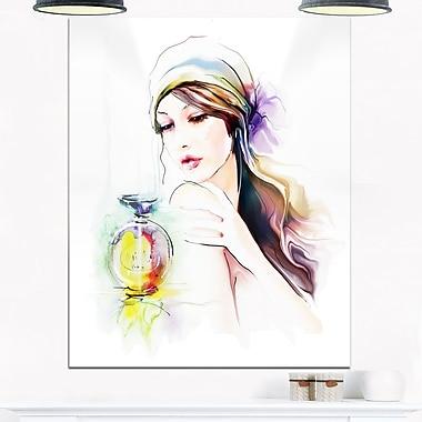 Portrait de femme avec bouteille de parfum, art mural en métal, 12 x 28 (MT6710-12-28)