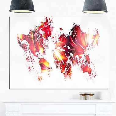 Firey Red Map Metal Wall Art, 28x12, (MT2723-28-12)