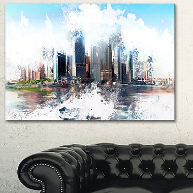 Backside Cityscape Large Metal Wall Art, 28x12, (MT3314-28-12)