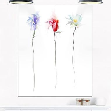 Art mural en métal, trois fleurs, art numérique, 12 x 28 (MT6689-12-28)