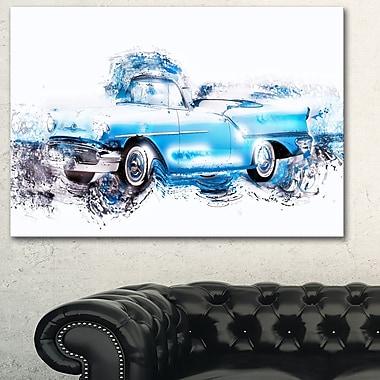 Art mural abstrait en métal, voiture rétro bleu ciel, 28 x 12 po (MT2660-28-12)