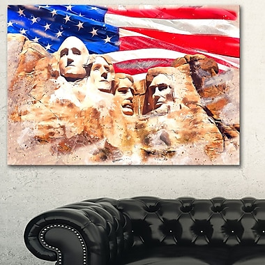 Mount Rushmore and US Flag Metal Wall Art, 28x12, (MT2808-28-12)