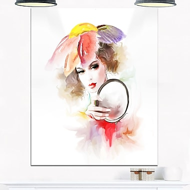 Woman with Mirror Digital Metal Wall Art, 12x28, (MT6698-12-28)