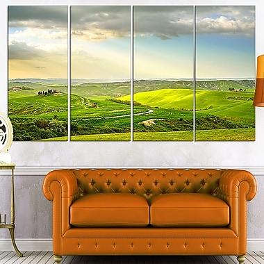 Art mural en métal, coucher de soleil rural, photographie, 48 x 28, 4 panneaux (MT7022-271)
