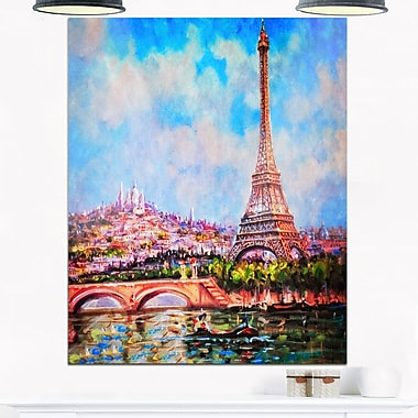 Colourful Eiffel and Sacre Coeur Metal Wall Art, 12x28, (MT6916-12-28)