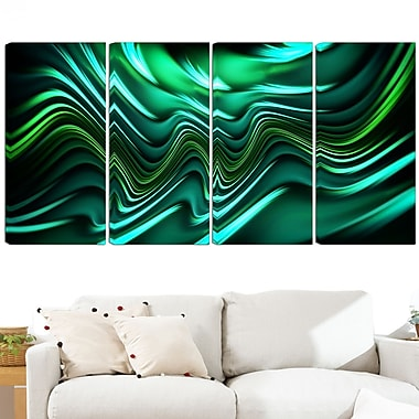 Emerald Energy Green Abstract Metal Wall Art, 48x28, 4 Panels, (MT3020-271)