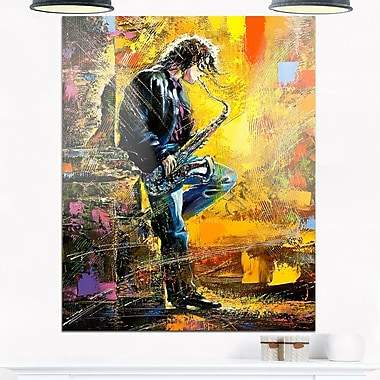 Man with Saxophone Contemporary Metal Wall Art, 12x28, (MT6081-12-28)