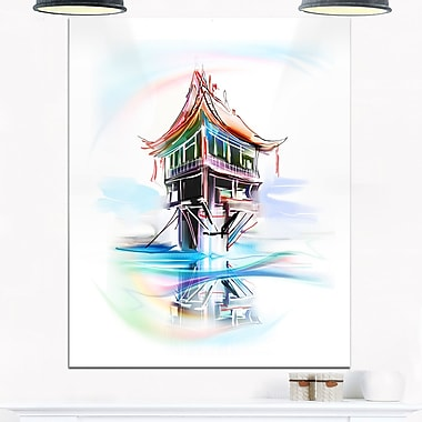 Pagoda in Vietnam Digital Metal Wall Art, 12x28, (MT6674-12-28)