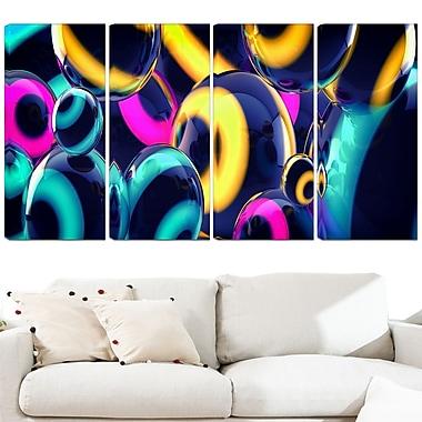 Art mural en métal, sphères intuitives, 48 x 28 po, 4 panneaux, (MT3094-271)