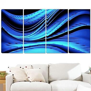Blue and Black Transition Metal Wall Art, 48x28, 4 Panels, (MT3056-271)