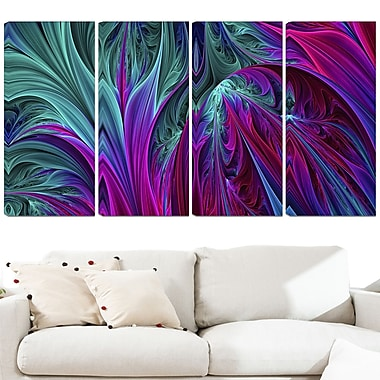 Purple and Green Jungle Metal Wall Art, 48x28, 4 Panels, (MT3085-271)