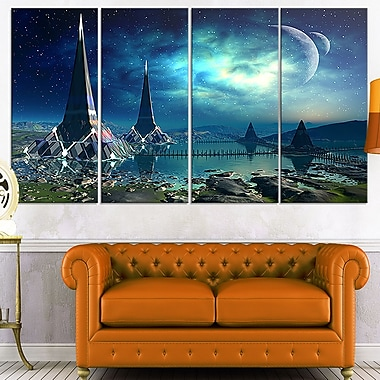 The Towers of Gremor Alien Planet Metal Wall Art, 48x28, 4 Panels, (MT7048-271)