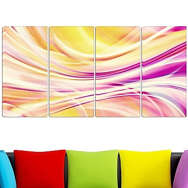Art mural numérique en métal, rubans couleur bonbon, 48 x 28 po, 4 panneaux, (MT3004-271)