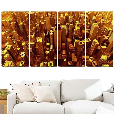 Art mural en métal, ville dorée vue du ciel, 48 x 28 po, 4 panneaux (MT3077-271)