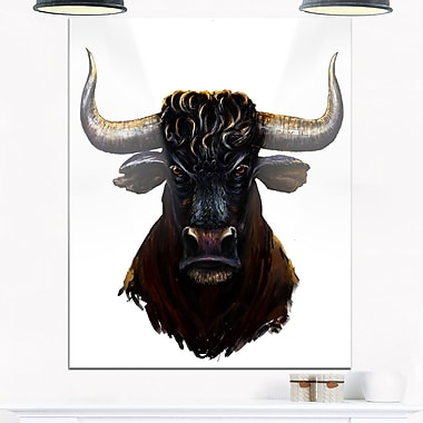 Furious Bull Illustration Art, Animal Metal Wall Art, 12x28, (MT6187-12-28)