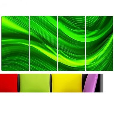 Art mural en métal, laser vert, 48 x 28 po, 4 panneaux (MT3038-271)