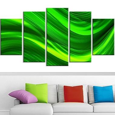 Art mural en métal, laser vert, 60 x 32 po, 5 panneaux (MT3038-373)