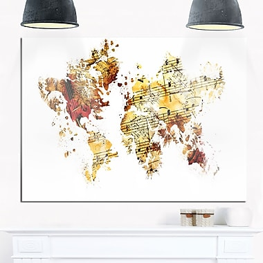 Brown and Beige Map Metal Wall Art, 28x12, (MT2735-28-12)