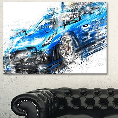 Burning Rubber Blue Super Car Metal Wall Art, 28x12, (MT2608-28-12)