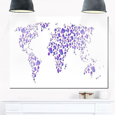Lavender World Map Metal Wall Art, 28x12, (MT2714-28-12)