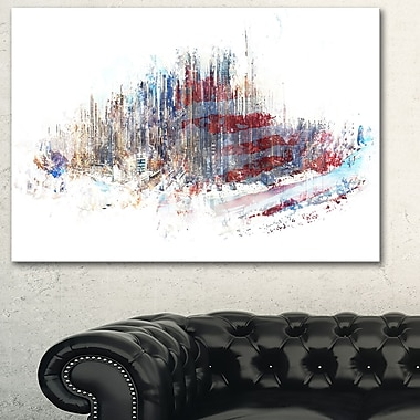 Red, White, and Blue Cityscape Large Metal Wall Art, 28x12, (MT3304-28-12)
